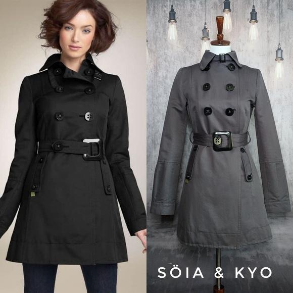 Soia & Kyo Jackets & Blazers - Soia & Kyo Convertible Collar Trench Coat in Gray